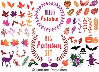 вектор, leaves, elements, задавать, осень, красочный, дизайн