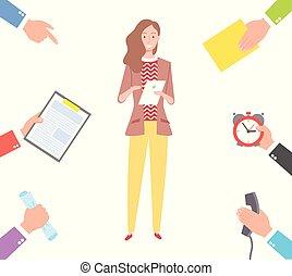 вектор, partners, tasks, планирование, женщина, руки