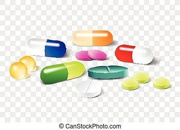 вектор, pills, задний план, другой, прозрачный