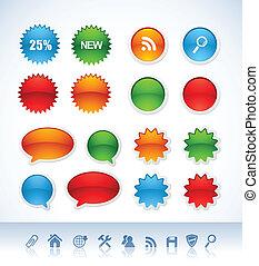 вектор, stickers, красочный