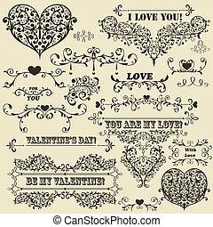 вектор, valentine's, elements, дизайн, марочный