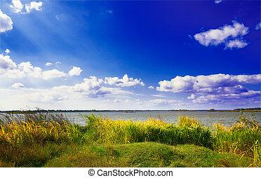 великолепный, озеро, autumn., большой