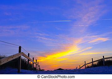 величественный, небо, закат солнца