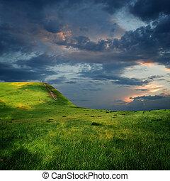 величественный, clouds, край, плато, небо, гора