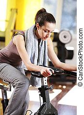 велосипед, женщина, молодой, упражнение, верховая езда