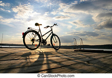#, велосипед, конец, поездка