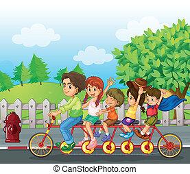 велосипед, семья