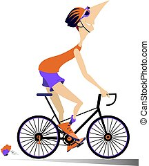велосипед, rides, isolated, человек, мультфильм