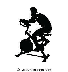 вело тренажер, rides, человек, вектор