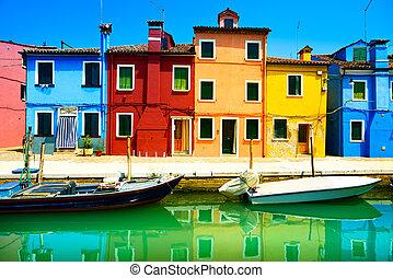венеция, burano, канал, красочный, остров, фотография, italy., длинный, houses, ориентир, boats, воздействие