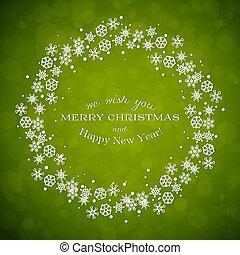 венок, зеленый, рождество, задний план