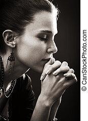 вера, женщина, -, молитва, религия