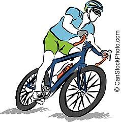 верховая езда, велосипед, спорт, человек, illustratio