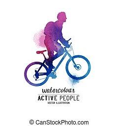верховая езда, велосипед, watercolour, человек