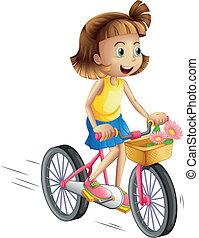 верховая езда, девушка, велосипед, счастливый