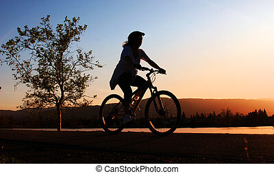 верховая езда, женщина, велосипед