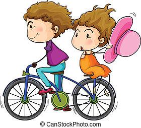 верховая езда, lovers, велосипед