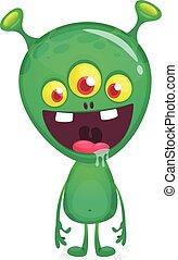 веселая, вектор, мультфильм, день всех святых, alien., иллюстрация