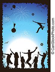 веселая, иллюстрация, день отдыха, вектор, дизайн, ваш, вечеринка