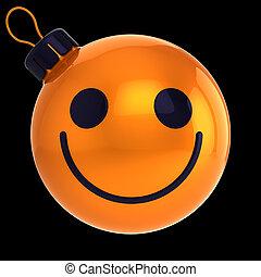 веселая, мяч, лицо, год, оранжевый, новый, счастливый, безделушка, рождество