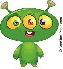 веселая, персонаж, вектор, мультфильм, тебя, eyes., инопланетянин, isolated, иллюстрация
