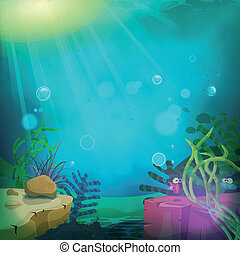веселая, подводная лодка, пейзаж, океан