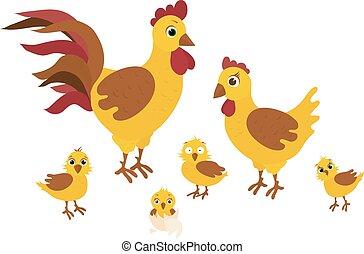 веселая, семья, -, иллюстрация, вектор, курица, пасха, счастливый