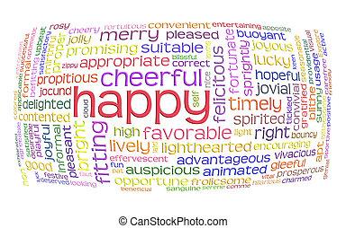 веселая, слово, облако, счастливый