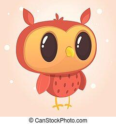 веселая, сова, большой, иллюстрация, вектор, eyes., мультфильм