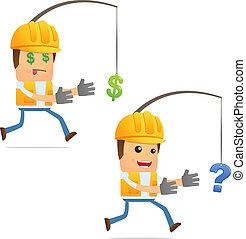 веселая, строитель, задавать, мультфильм