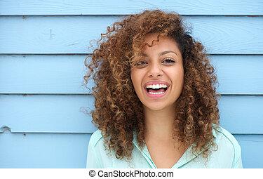 веселая, улыбается, женщина, молодой, африканец