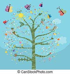 веселая, butterflies, kids, дерево, карта