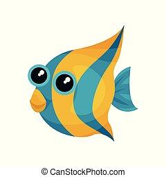 веселая, creature., вектор, blue-yellow, милый, блестящий, рыба, квартира, элемент, книга, море, большой, animal., eyes., морской, children