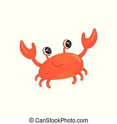 веселая, creature., вектор, claws., животное, красочный, квартира, adorable, или, иллюстрация, crab., мультфильм, книга, дизайн, карта, море, большой, улыбается, морской, children, красный