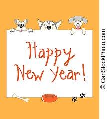 веселая, dogs, год, оранжевый, новый, мультфильм, карта
