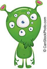 веселая, eyes, день всех святых, alien., вектор, инопланетянин, многие, мультфильм, иллюстрация