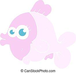 веселая, eyes, квартира, цвет, большой, рыба, иллюстрация, симпатичная, мультфильм