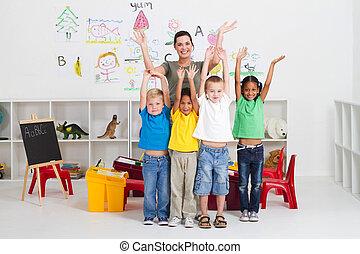 веселая, kids, учитель, дошкольного
