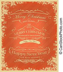 веселый, рождество, задний план, ретро