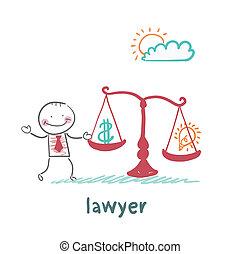 весит, адвокат, баланс, идея, деньги