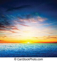 весна, абстрактные, море, задний план, восход