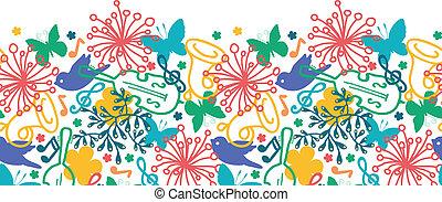 весна, бесшовный, симфония, музыка, задний план, шаблон, горизонтальный