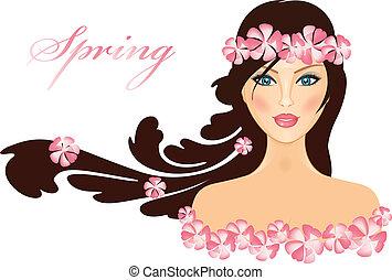 весна, вектор, -, gir, иллюстрация