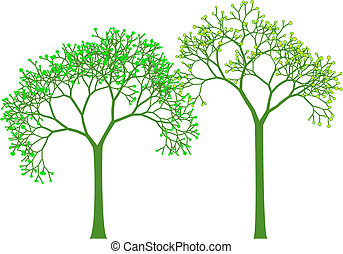 весна, вектор, trees
