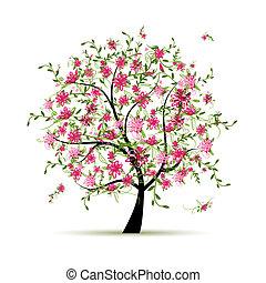 весна, дизайн, дерево, ваш, roses