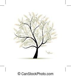 весна, дизайн, дерево, зеленый, ваш