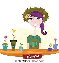 весна, женщина, цветы, сад