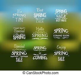 весна, задавать, дизайн, типографский