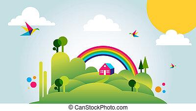 весна, иллюстрация, задний план, время, пейзаж, счастливый