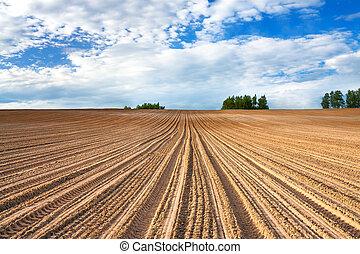 весна, пейзаж, ploughed, поле